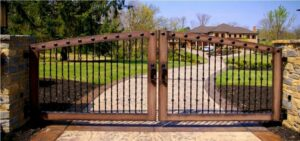 new wood and metal driveway gate