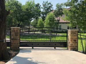 stone and metal sliding gate