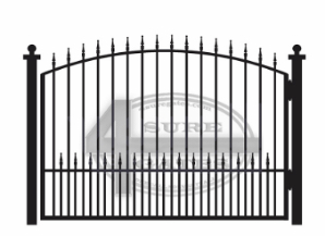 arched metal gate with points on the top