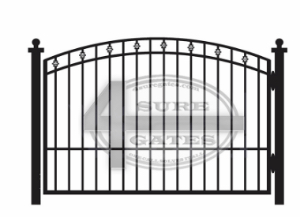 black metal gate in dallas TX with bell top